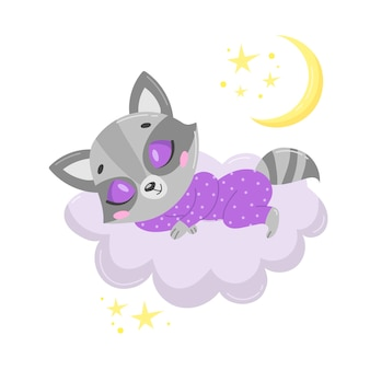 Schattige cartoon wasbeer slapen op een wolk.
