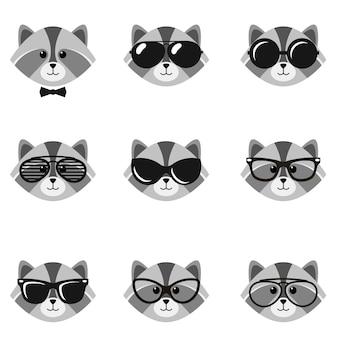 Schattige cartoon wasberen met zonnebril