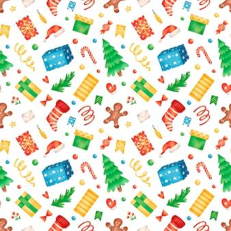 Schattige cartoon winter kerst naadloze patroon