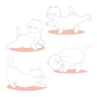 Schattige cartoon witte katten die yoga beoefenen