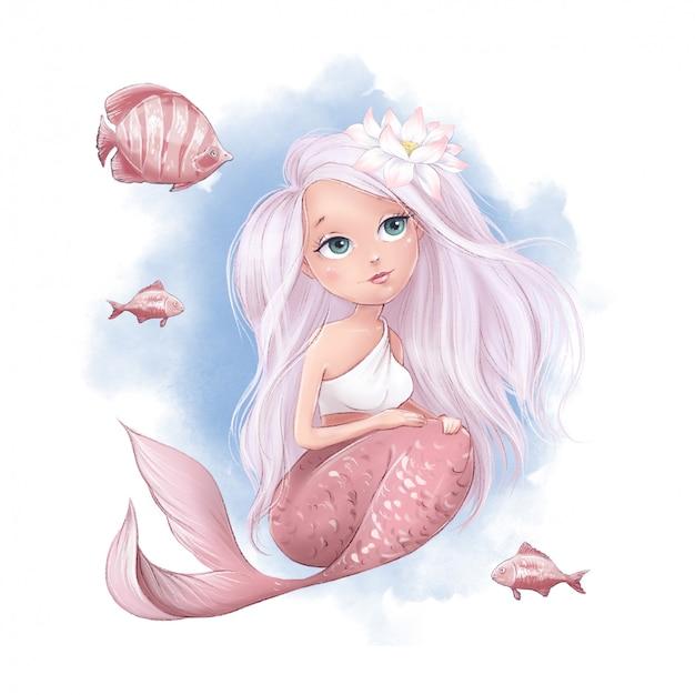 Schattige cartoon zeemeermin en vis op een aquarel achtergrond