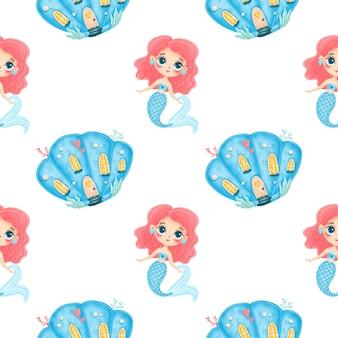 Schattige cartoon zeemeerminnen naadloze patroon. zeemeermin kasteel patroon. zeemeermin huis pattren. onderwaterwereldpatroon. sprookje patroon.