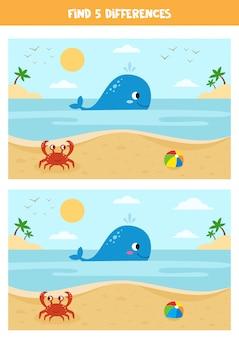 Schattige cartoon zomer zeegezicht met walvis, krab en speelgoed bal.