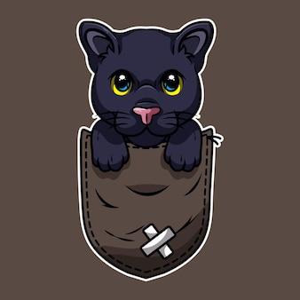Schattige cartoon zwarte panter in een zak