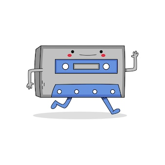 Schattige cassette stripfiguur weglopen