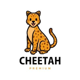 Schattige cheetah luipaard cartoon logo pictogram illustratie