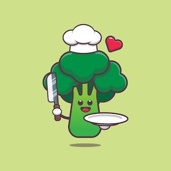 Schattige chef-kok broccoli karakter illustratie