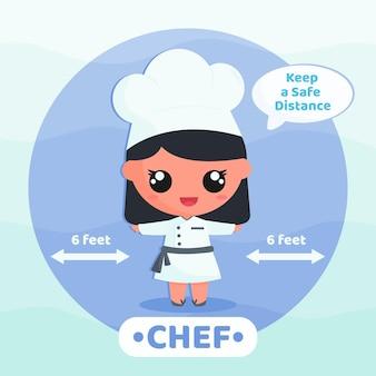 Schattige chef-kok doet campagne viruspreventie cartoon karakter concept