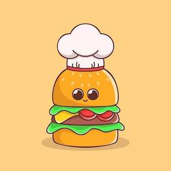 Schattige chef-kok hamburger illustratie in plat ontwerp