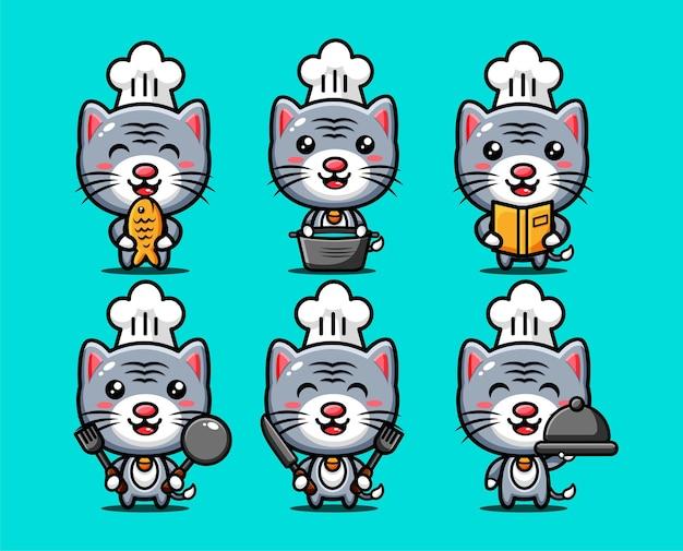 Schattige chef-kok katten tekens instellen