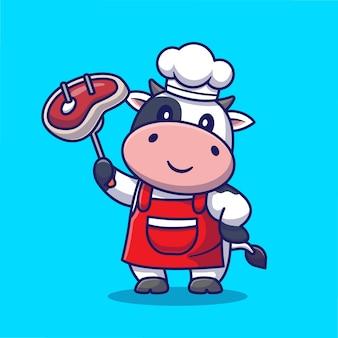 Schattige chef-kok koe grill vlees cartoon pictogram illustratie. dierlijk voedselpictogram concept geïsoleerde premie. flat cartoon stijl