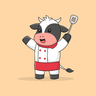 Schattige chef-kok koe