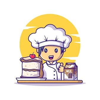 Schattige chef-kok meisje met cake chocolade en melk tekenfilms