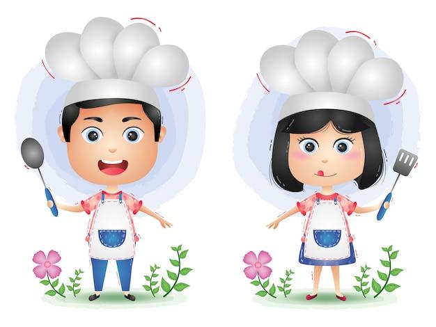 Schattige chef-kok paar karakter cartoon vector