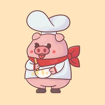 Schattige chef-kok varken mascotte logo premium kawaii