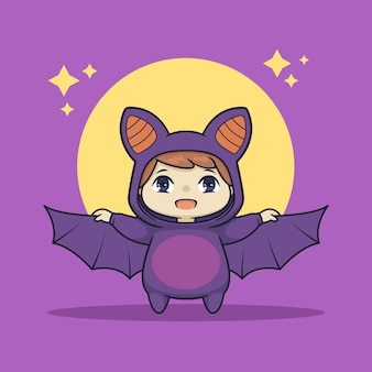 Schattige chibi jongen in vleermuiskostuum karakter
