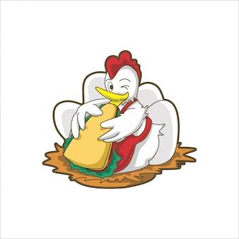 Schattige chiken gekleurde eten sandwich