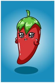 Schattige chili hand tekenen illustratie