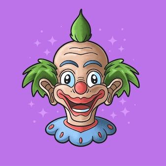 Schattige clown hoofd illustratie grunge stijl