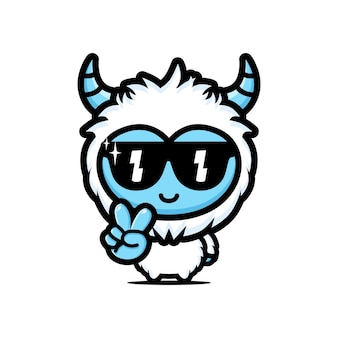 Schattige coole yeti met bril