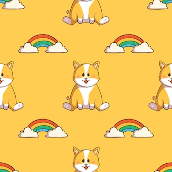 Schattige corgi hond en regenboog naadloze patroon met doodle stijl op gele achtergrond
