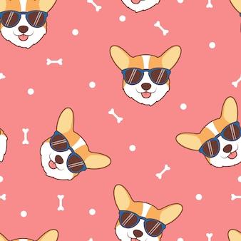Schattige corgi hond gezicht met zonnebril cartoon naadloze patroon