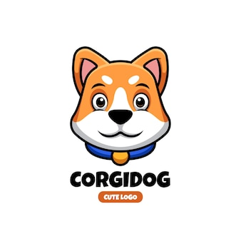 Schattige corgi huisdier dier creatieven logo ontwerpsjabloon