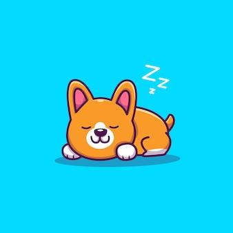 Schattige corgi slapende cartoon pictogram illustratie. dierlijke pictogram concept geïsoleerd. flat cartoon stijl