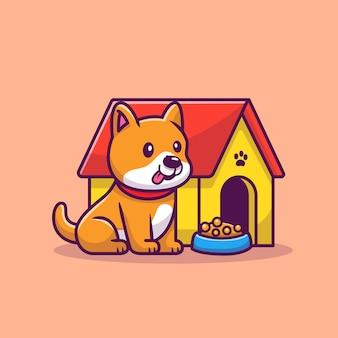 Schattige corgi zittend naast hondenkooi cartoon vectorillustratie. animal love concept geïsoleerd. platte cartoon stijl