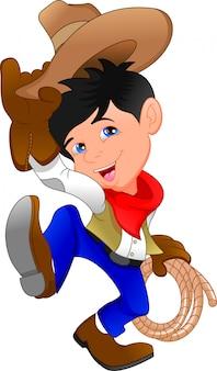 Schattige cowboy jongen cartoon