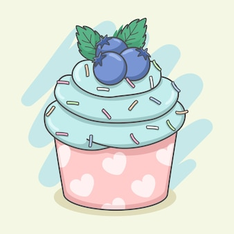 Schattige cupcake met bosbessen en munt