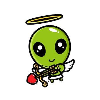 Schattige cupido-aliens zijn boogschieten met liefde