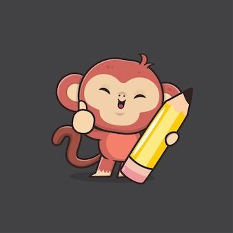 Schattige dieren aap terug naar school illustratie