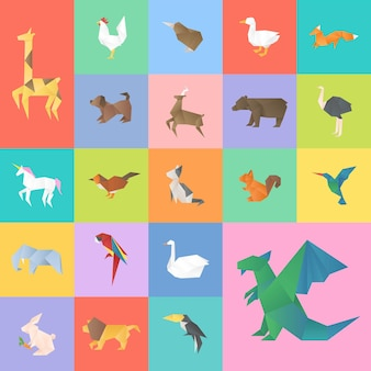Schattige dieren ambachtelijke vector geometrische uitgesneden set