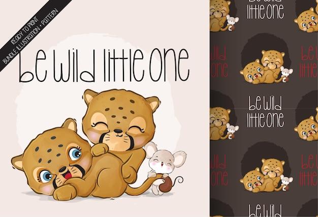 Schattige dieren baby cheetah gelukkig spelen met muis naadloze patroon