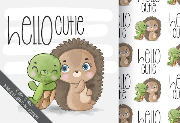 Schattige dieren baby egel met baby schildpad naadloze patroon
