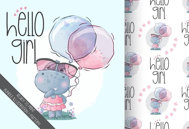 Schattige dieren baby hippo bedrijf ballon met naadloze patroon