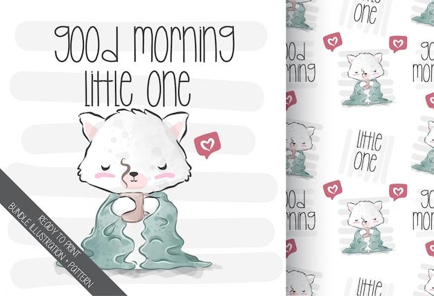 Schattige dieren baby kitten houden op koffiekopje met naadloze patroon