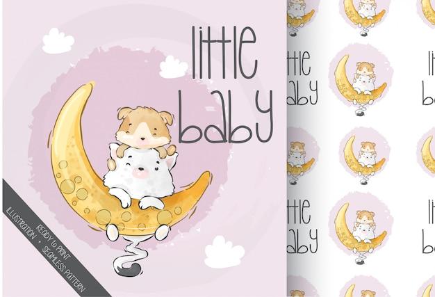 Schattige dieren baby kitten spelen op de maan naadloze patroon
