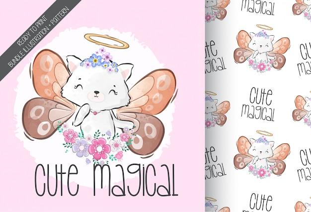 Schattige dieren baby magische kitten met naadloze patroon