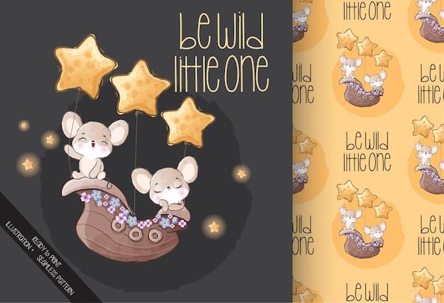Schattige dieren baby muis gelukkig vliegen met schip naadloze patroon