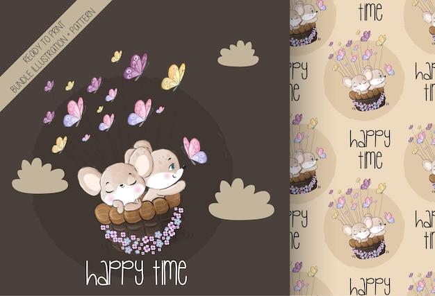 Schattige dieren baby muis gelukkig vliegen met vlinder naadloze patroon