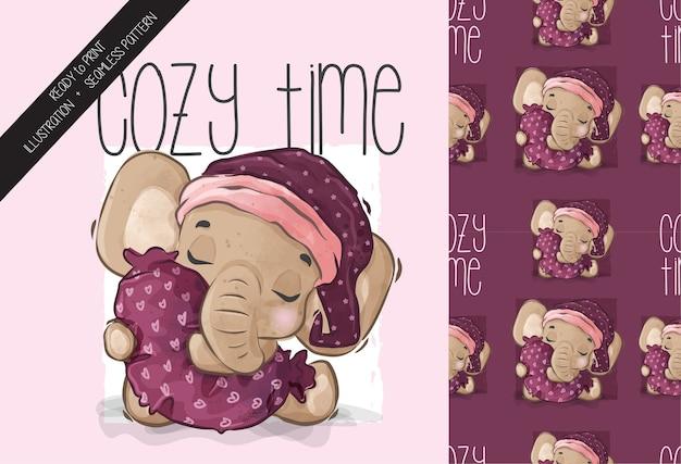 Schattige dieren baby olifant slapen naadloze tijdpatroon. schattige cartoon dier.