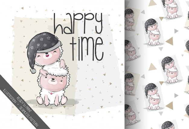 Schattige dieren baby schapen met vriend naadloze patroon