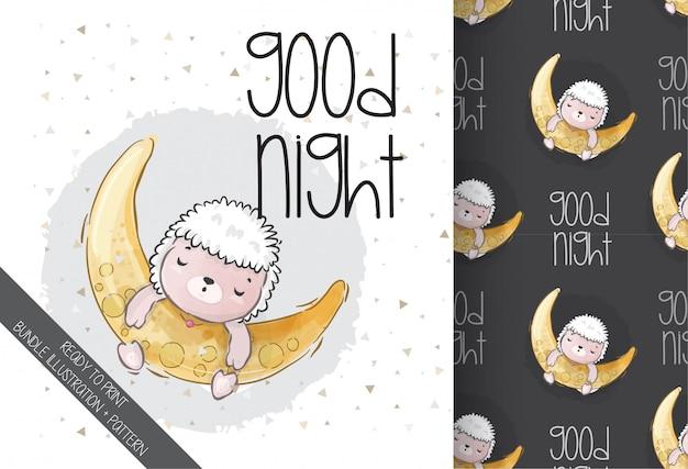 Schattige dieren baby schapen slapen met naadloze patroon