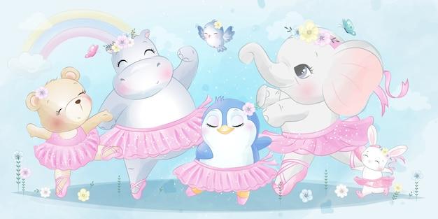 Schattige dieren balletdansen
