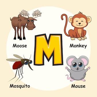 Schattige dieren cartoon alfabet letter m
