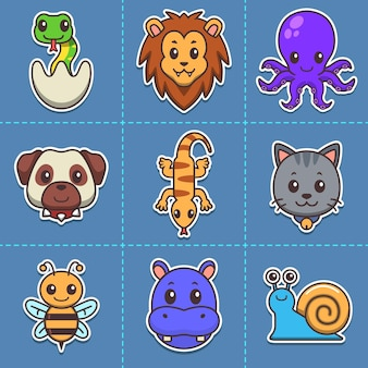 Schattige dieren cartoon pictogram bundel reptiel mammalia octopus slak nijlpaard bee
