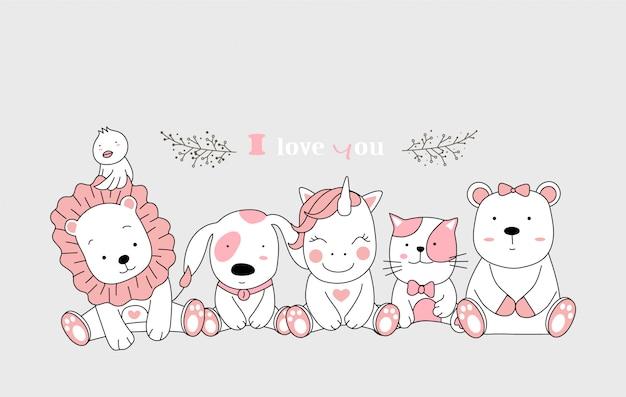 Schattige dieren cartoon set