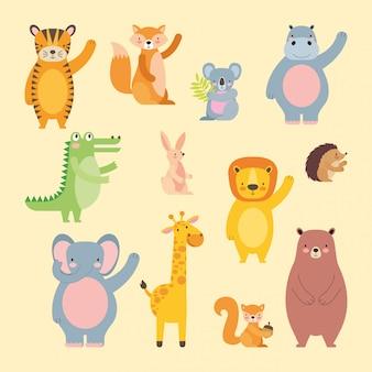 Schattige dieren cartoons